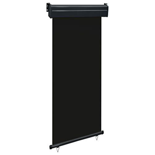 vidaXL Toldo Lateral de Balcón Paraviento Pantalla Protector Solar Cortavientos Privacidad Parasol Protegerse del Sol o del Viento 80x250cm Negro