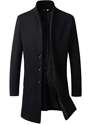Beninos Men's Trench Coat Winter Long Jacket Button Closer Overcoat (168 Black, L)