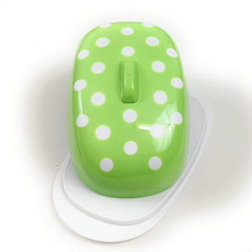 Berossi Burro Piatto di plastica Verde con Coperchio BPA Libero per la conservazione in Frigorifero Verde Burro Scatola di plastica di Servizio Rotante Piatto di Latta Stile retrò