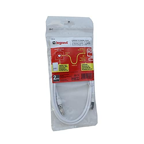 Legrand 93043 - Cable coaxial y 1 conector RJ 45 para conectar un televisor o un juego de tobillo, 2 m de longitud, color blanco