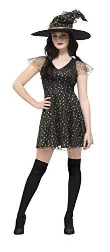 Smiffy's - dames maan en sterren heksen kostuum, jurk en hoed, meerkleurig