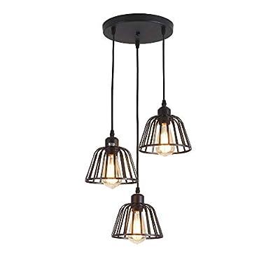 Rustic Industrial Pendant Light,3 Lights Industrial Ceiling Hanging Light Fixture Chandelier E26 for Kitchen Island Bedroom Living Dining Room,Black