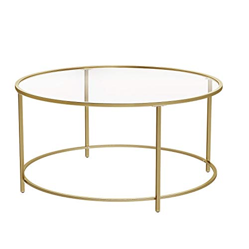 VASAGLE Round Coffee Table, Glass Table with Golden Steel Frame, Living Room Table, Sofa Table, Robust Tempered Glass, Stable, Decorative, Gold ULGT21G