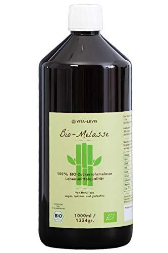 OHNE Konservierungsstoffe! 1 Liter / 1334gr 100% BIO-Zuckerrohr-Melasse, hochwertiges Naturprodukt, Lebensmittelqualität! von VITA-LEVIS