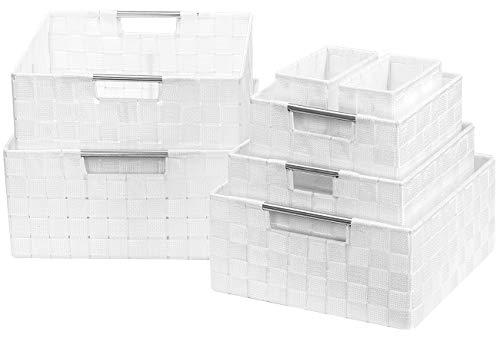 Sorbus Storage Box Woven Basket Bin Container Tote Cube Organizer Set Stackable Storage Basket Woven Strap Shelf Organizer Built-in Carry Handles 7 Piece - White