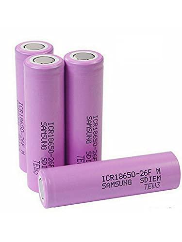 18650 Batería Recargable 3.7V 2600mAh Amplio Capacidad Plana Plana Li-Ion Batería de Descarga 20A Baterías Recargables Para Linterna, Timbre, Featlamps, Coches RC, etc. (4 Pcs) ⭐