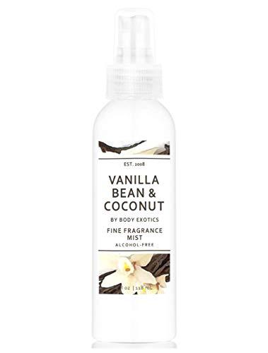 Vanilla Bean & Coconut Alcohol-free Perfume Fine Fragrance Mist by Body Exotics 4 Fl Oz - Irresistible Blend of Madagascar Vanilla, Cashmere Vanilla, Caribbean Coconut & Vanilla Musk