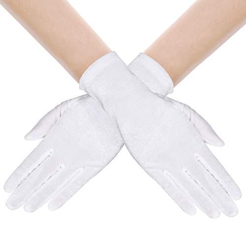 BABEYOND Guantes de terciopelo para mujer, largo/cortos, para fiestas, Audrey Hepburn, de los aos 20 2-blanco/22 cm Talla nica