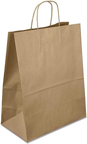 Netuno 20 Stück Braun Papiertragetaschen mit Griff 32x12x40cm Papier Tüten Braun Bodenbeutel aus Kraftpapier Einkaufstüten mit Bodenfalte Geschenktüten Geschenkbeutel Partypapiertüten zum Mitnehmen