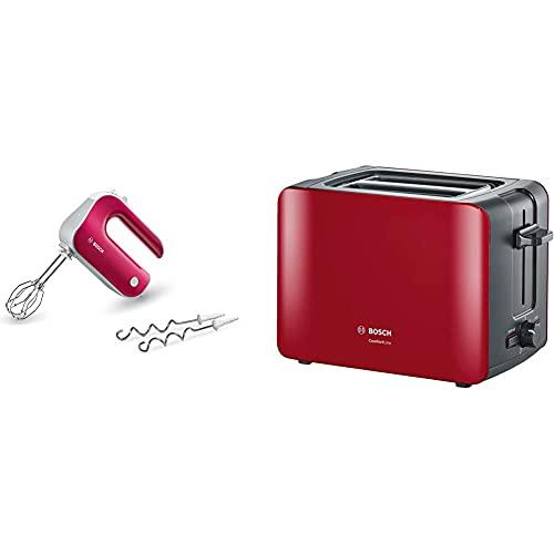 Bosch Handrührer Styline MFQ40304, 2 Rührbesen, 2 Edelstahl-Knethaken, 500 W & Toaster ComfortLine, integrierter Edelstahl-Brötchenaufsatz, mit Abschaltautomatik, 1090 W, rot