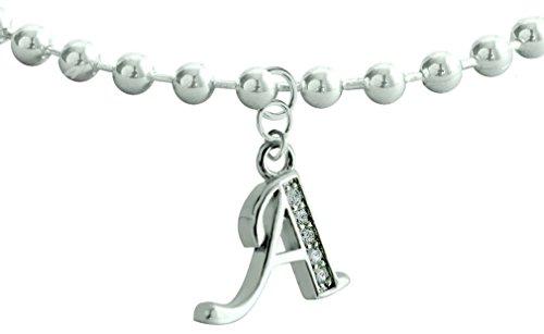 Cavigliera con catena a sfere e ciondolo con iniziale, in argento