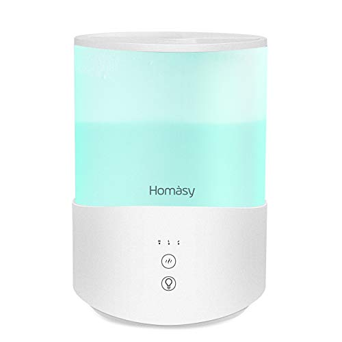 Homasy Umidificatore Ambiente Bambini 2,5L, Umidificatore Ultrasuoni a Riempimento Superiore, 28dB Umidificatore Bambini Luci Notturne 8 Colori, 2 Regolabile Modalità Nebbia, Modalità di Sonno- Bianco