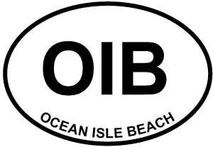 Vinyl Overlays 720 Magnet Ocean Isle Beach (OIB) Euro Oval Bumper Magnetic Sticker 5""