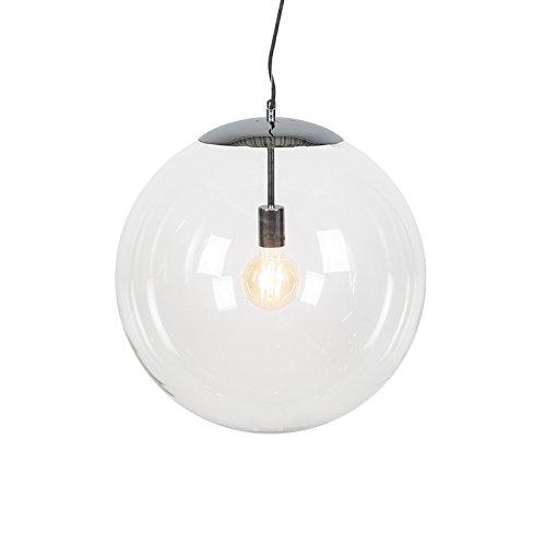 QAZQA Moderne Suspension/Lustre/Luminaire/Lumiere/Éclairage scandinave chrome avec verre clair - Ball 50 /Acier Transparent,Chrome Globe E27 Max. 1 x 60 Watt/intérieur/Salon/Cuisine