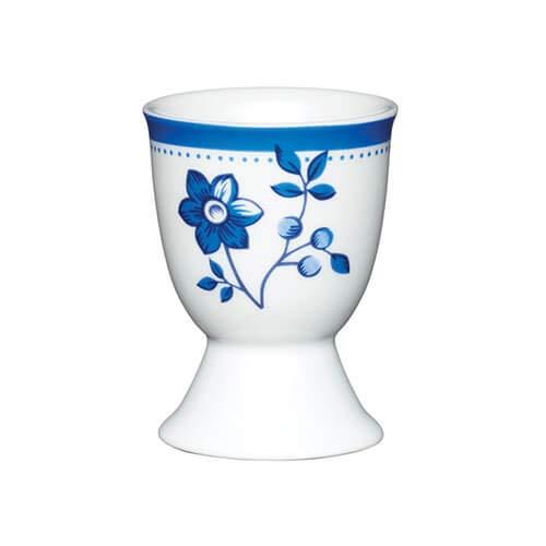 KitchenCraft Coquetier en porcelaine, motif fleur bleue, avec étiquette