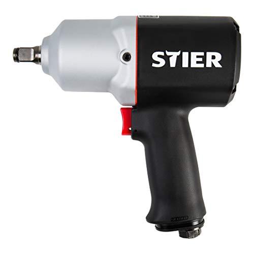 STIER Druckluft Schlagschrauber 15-PC, leicht, max. Lösemoment 1.054 Nm, vierkant, 1/2 Zoll, Stecknippel 1/4 Zoll, Schlagschrauber mit Hochleistungs-Stift-Schlagwerk, 3 Geschwindigkeitsstufen