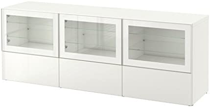 Ikea TV bench with doors and drawers, white, Selsviken high gloss/white clear glass 6382.26178.2016