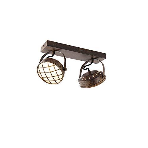 QAZQA Industrial Plafón vintage marrón óxido 2-luces - TAMINA Acero/Vidrio Alargada Adecuado...