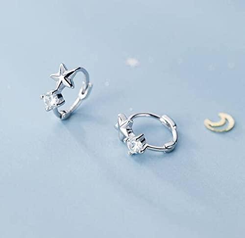 BEWITCHYU Pendientes de Plata con Forma de Estrella Pequeña S925, Pendientes Sencillos de un Solo Diamante para Mujerplata, 10 mm