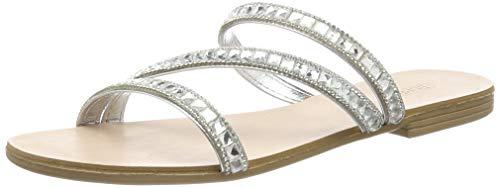 ESPRIT Damen Nil Juwel Slide Pantoletten, Grau (Silver 090), 38 EU