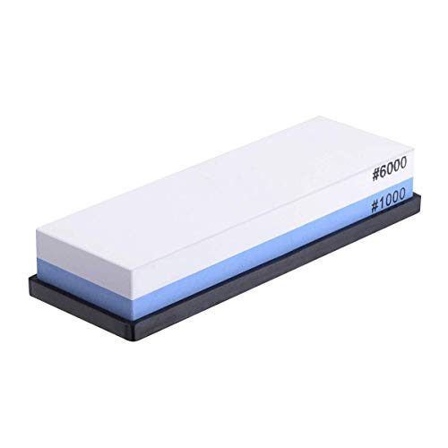 JUN-L White Corundum Knife Sharpening Whetstone 2 Side Grit 1000/6000 Waterstone with Slip-Resistant Silicone Base Perfect to Sharpen & Polish Knives, Chisels, Scissors