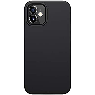 """Nillkin Case for Apple iPhone 12 Mini (5.4"""" Inch) Flex Pure Case Liquid Silicon Finish Anti Finger Print with Inner Microfibre Black Color"""