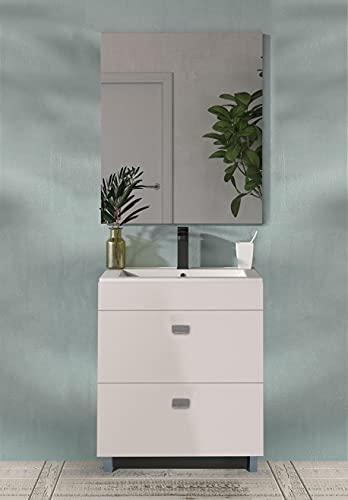 Juego de Mueble de Baño Modelo Nicosia, Conjunto formado por Mueble de Baño, Lavabo de Porcelana y Espejo. Compacto Fondo 38m Ideal para Espacios Reducidos.