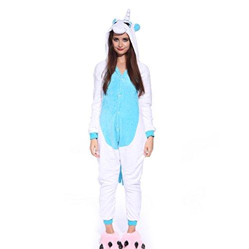 Anladia Unisex Pyjamas Kostüm Fleece Overall Jumpsuit Tier Erwachsene Schlafanzug (Weiß+Blau, L)