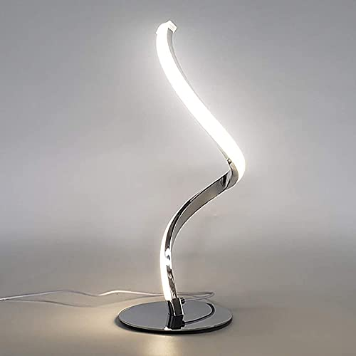 wdpinpan 12W Modern Curved Desk Lamp,Touch Switch Design 3 Lighting Colors Dimming Bedside Lamp,Acrylic Lampshade,Nightstand Lamps for Bedroom,Living Room,Office(110-240V)