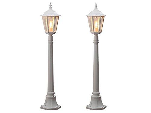2-delige set witte weglampen FIRENZE, E27, aluminium, incl. paal en fundering; KONSTSMIDE 7215-250