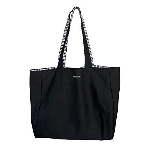 Sasuga 【在庫処分】大容量 リバーシブル ショルダーバッグ 肩掛けかばん ショッピング エコ バッグ 通学 買い物 帆布 マザーズバッグ (ブラック)