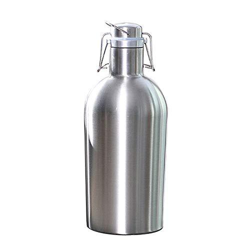 Ctzrzyt 2L Botellas De Cerveza De Gran Capacidad De Tapa Superior De Oscilación Segura Rugido De Cerveza Casera De Acero Inoxidable para Exterior