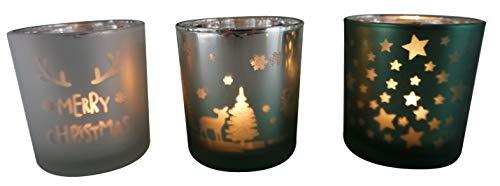 khevga Windlicht Weihnachten aus Glas im 3er Set