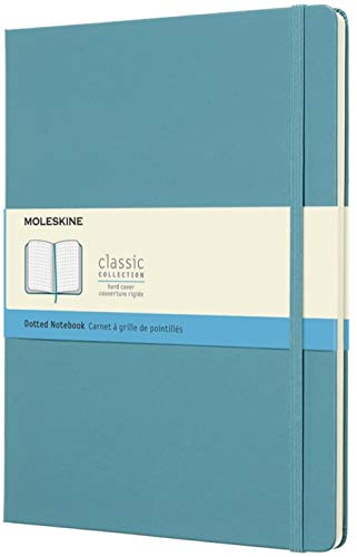 Moleskine Classic Notebook, Extra Large, Dotted, Reef Blue, Hard Cover (7.5 X 9.75)