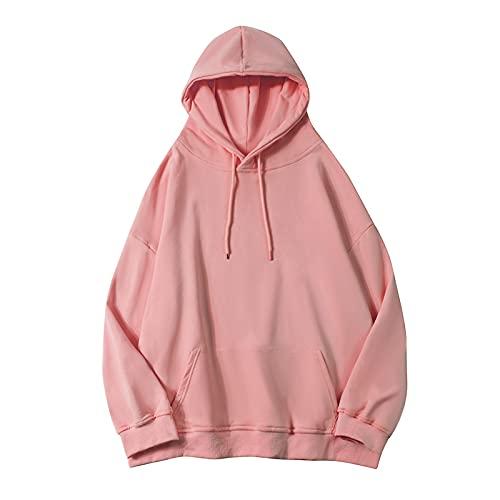 dagui Suéter con Capucha De Color Puro Mujer Primavera Y Otoño Blusa Suelta Todo Fósforo Rosa S