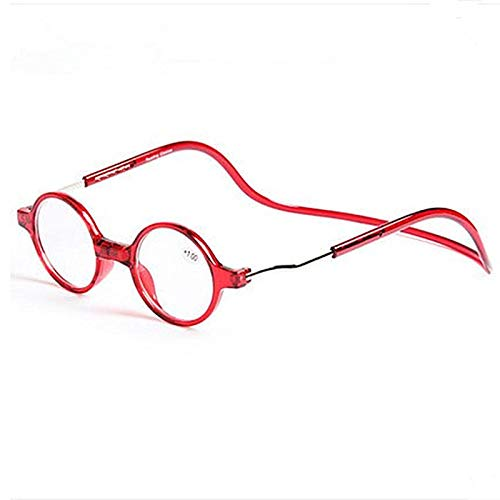 Xin Hai Yuan Gafas De Lectura Puente Magnético para Hombres Y Mujeres +2,00 (55-59 Años) Templo Plegable Ajustable Suave Que Cuelga Alrededor del Cuello, Negro Y Rojo,Rojo,+1.0