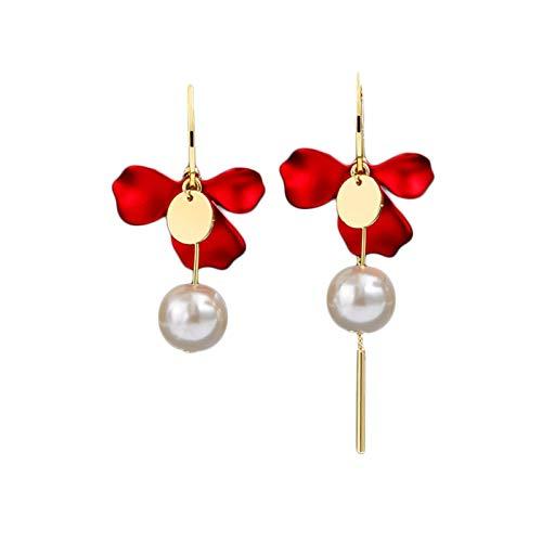 LICHUAN Pendientes de perlas asimétricas con diseño de flores y pendientes de gota y pendientes elegantes para adolescentes y mujeres