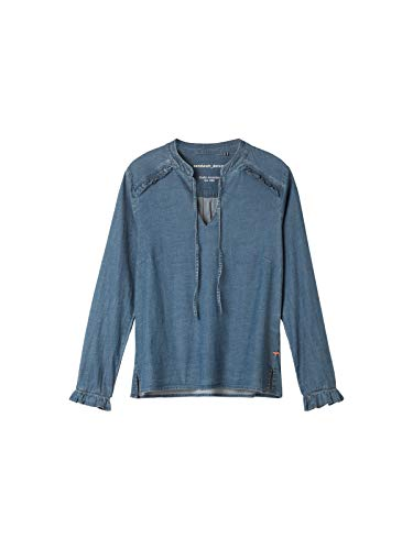 Sandwich dames denim-blouse met ruches