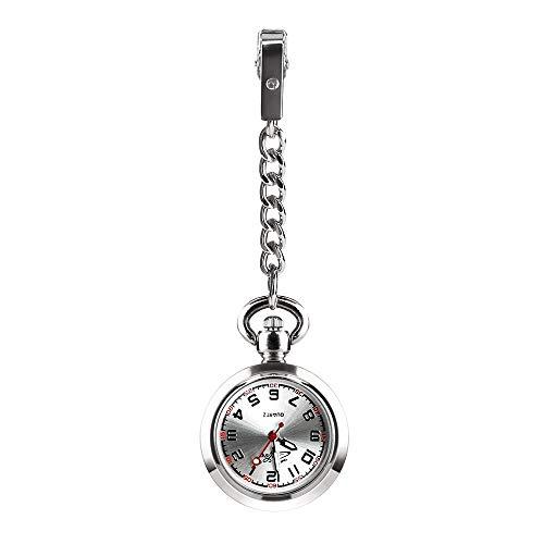 CestMall Reloj Bolsillo Enfermera de Enfermera Reloj con Clip Fob Reloj de Bolsillo Médico Paramédico Reloj de Cuarzo Enfermeras Reloj con Clip Reloj con Clip