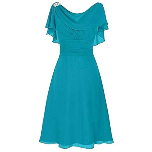 LOPILY Abendkleid Große Größen Damen Rüschen Kurzarm V-Ausschnitt Cocktail Kleid Rückenfreies Kleid Übergrößen Festliche Kleider für Damen Große Größen Kleid für Hochzeit Gast (Blau, DE-36/CN-M)