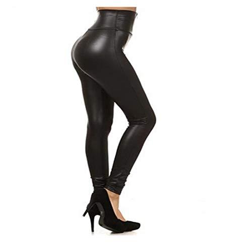 Globaltrade001 Mujer PU Leggins Cuero con Cremallera Pantalones Cintura Alta Medias Skinny Elsticos Treggins de Piel Sinttica L
