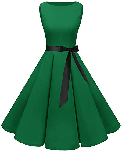 bbonlinedress 50s Retro Schwingen Vintage Rockabilly Kleid Cocktail Faltenrock Green XL