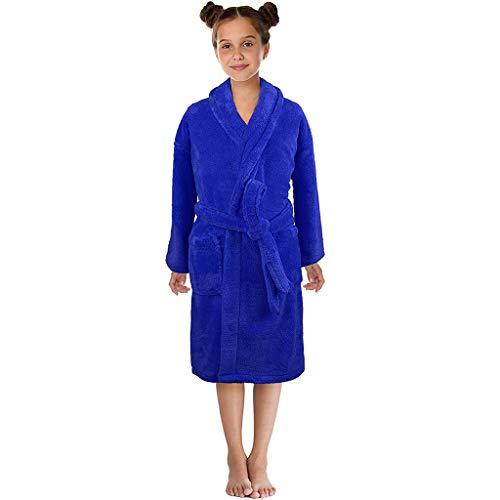 KEERADS Peignoir pour Enfants Petit Garçon Fille avec Capuche 100% Coton Robe de Chambre Serviette Doux Éponge de Coton 7-13 Ans (Small,Bleu)