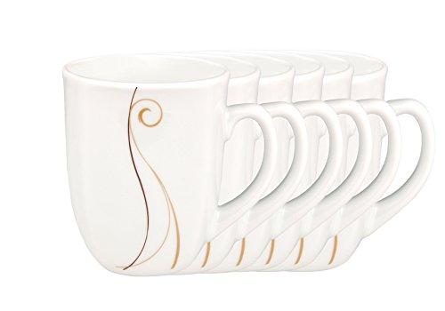 6er Set Kaffeebecher Granada 33cl - Kaffeetasse aus weißem Porzellan mit Linien- Dekor in beige und braun