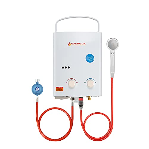 Camplux AY132-DE 5 Liter Tankless Gasdurchlauferhitzer 50mbar, LPG Durchlauferhitzer mit Tragbarer Griff, 10kW, Propan- oder Butangas, Campingdusche