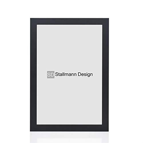 Stallmann Design Bilderrahmen New Modern 40x60 cm schwarz ultramatt Rahmen Fuer Dina 4 und 60 andere Formate Fotorahmen Wechselrahmen aus Holz MDF mehrere Farben wählbar Frame für Foto oder Bilder