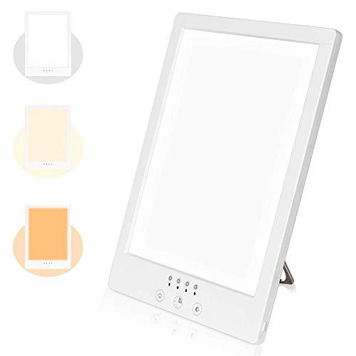 Tageslichtlampe 10000 Lux Tageslichtleuchte LED Lichtdusche Einstellbare Helligkeitsstufen Tageslicht Lichttherapie Lampe Nachtlicht mit Multi Winkel Ständer zum Ausgleich von Lichtmangel