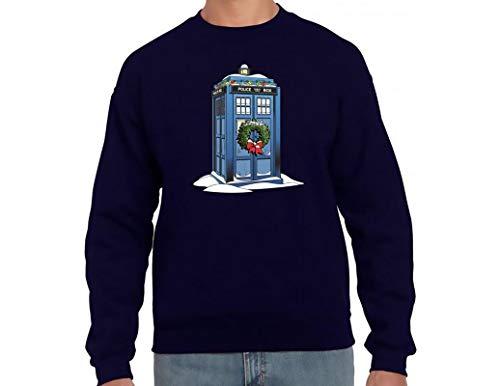 Ripple Junction Doctor Who Adult Snowy Tardis Heavy Blend Crewneck Fleece Sweatshirt LG Navy