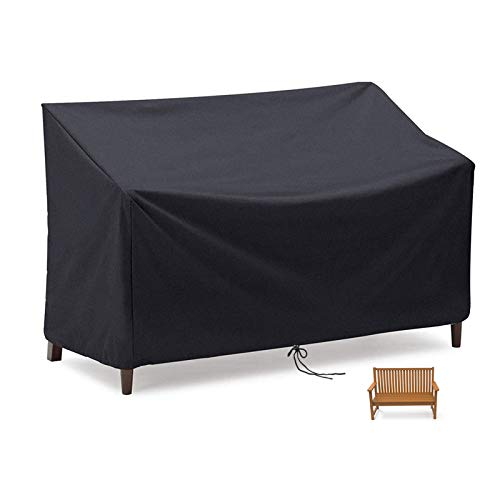 Flymer Housse pour banc 2/3/4 places, imperméable, coupe-vent et indéchirable en tissu Oxford 210D anti-UV, pour banc de terrasse extérieur – Noir (2 places)