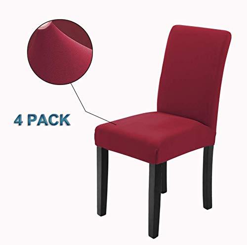 Veakii R Fundas para sillas Pack de 4 Fundas sillas Comedor, Lavable Comedor Asiento Cubre para el Comedor casero Modern Bouquet de la Boda, Hotel, Decor Restaurante(Rojo Vino)